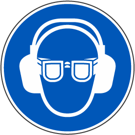 Wear Eye & Ear Protection Label