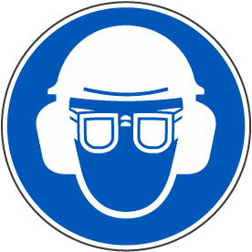 Wear Hard Hat, Eye & Ear Protection Label