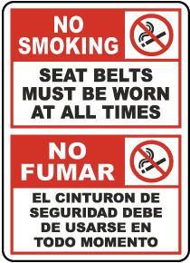 Bilingual No Smoking Seat Belts Must Be Worn Label
