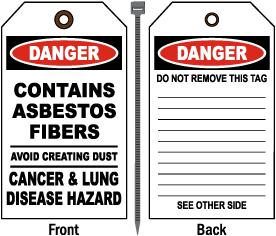 Contains Asbestos Fibers Tag