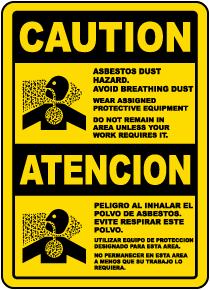 Bilingual Asbestos Dust Hazard Avoid Breathing Dust Sign