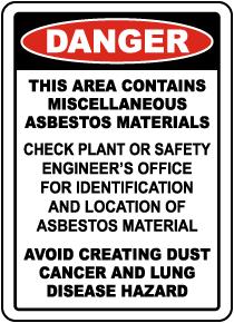 Contains Asbestos Materials Sign