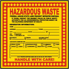 California Hazardous Waste Label