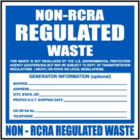 Non-RCRA Regulated Waste Label
