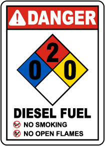 NFPA Diesel Fuel 0-2-0 Sign