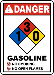 NFPA Gasoline 1-3-0 Sign
