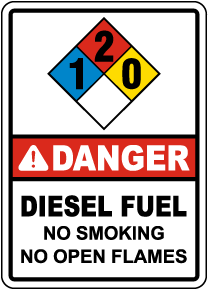 NFPA Danger Diesel Fuel 1-2-0 Sign