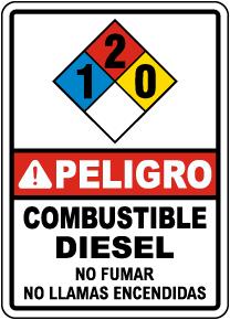 Spanish NFPA Danger Diesel Fuel 1-2-0 Sign