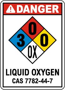 NFPA Danger Liquid Oxygen 3-0-0-OX Sign