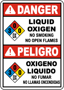 Bilingual NFPA Danger Liquid Oxygen 3-0-0-OX Sign
