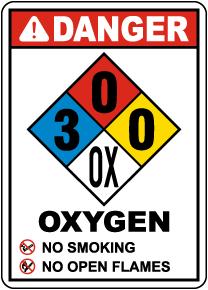 NFPA Danger Oxygen 3-0-0-OX Sign