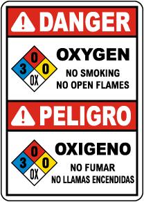 Bilingual NFPA Danger Oxygen 3-0-0-OX Sign