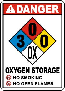 NFPA Danger Oxygen Storage 3-0-0-OX Sign