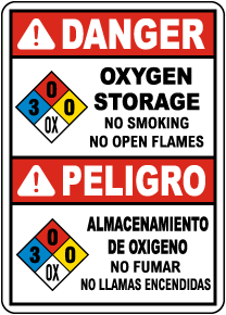 Bilingual NFPA Danger Oxygen Storage 3-0-0-OX Sign