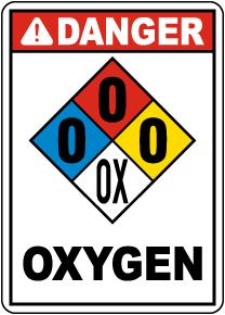 NFPA Danger Oxygen 0-0-0-OX Sign