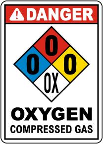 NFPA Danger Oxygen Compressed Gas Sign