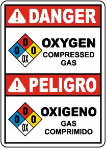Bilingual NFPA Danger Oxygen Compressed Gas Sign