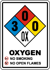 NFPA Oxygen 3-0-0-OX Sign