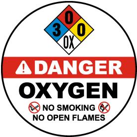NFPA Oxygen 3-0-0 Floor Sign