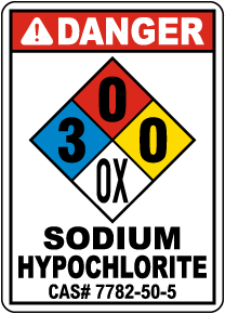NFPA Danger Sodium Hypochlorite 3-0-0-OX Sign