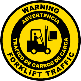 Bilingual Warning Forklift Traffic Floor Sign