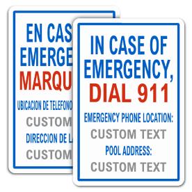 Custom In Case of Emergency Pool Sign
