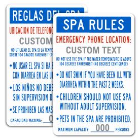Custom Spa Rules Sign