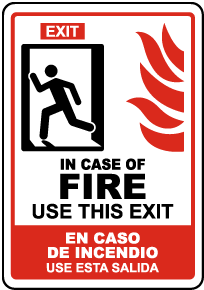 Bilingual In Case of Fire Use This Exit Sign
