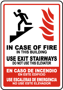 Bilingual In Case of Fire In This Building Sign