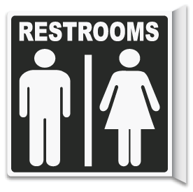 2-Way Restrooms Sign