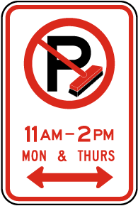 No Parking Street Cleaning Sign