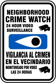 Bilingual Neighborhood Crime Watch Sign