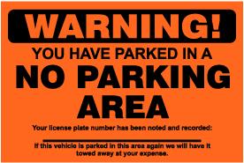 No Parking Area Violation Sticker