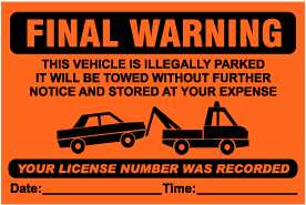 Final Warning Violation Sticker