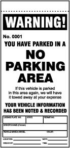 No Parking Area Violation Ticket