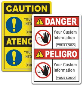Custom Bilingual ANSI & OSHA Headers, Text & Image Options