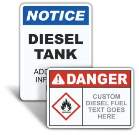 Custom ANSI Z535.2 & OSHA Custom Diesel Signs