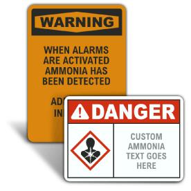 Custom ANSI Z535.2 & OSHA Custom Ammonia Signs