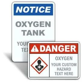 Custom Oxygen ANSI & OSHA Signs