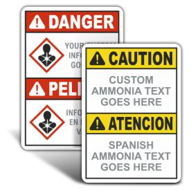 Custom ANSI Z535.2 & OSHA Custom Bilingual Ammonia Signs