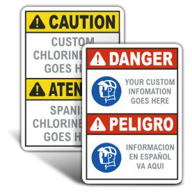 Custom ANSI Z535.2 & OSHA Custom Bilingual Chlorine Signs