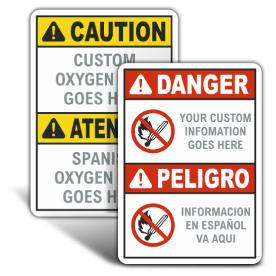 Custom Oxygen Bilingual ANSI & OSHA Headers