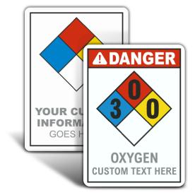 Custom Oxygen ANSI / NFPA Safety Sign