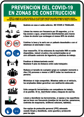 Spanish Job Site COVID-19 Prevention Measures Sign