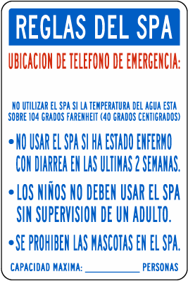 Texas Spanish Spa Rules Sign