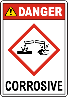 Danger Corrosive GHS Sign