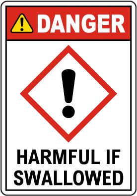 Danger Harmful If Swallowed GHS Sign