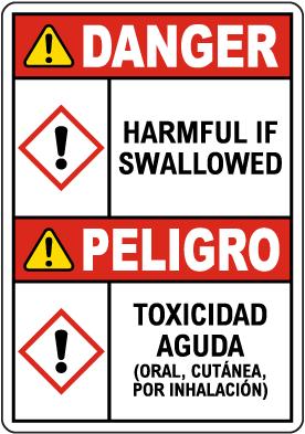 Bilingual Danger Harmful If Swallowed GHS Sign