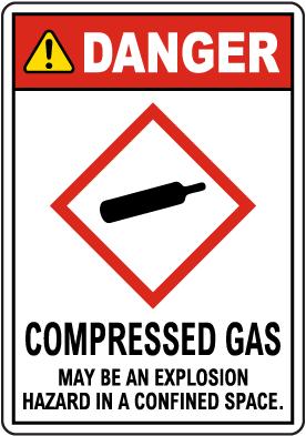 Danger Compressed Gas GHS Sign