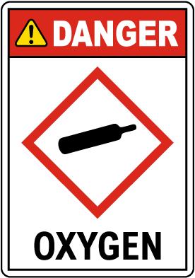 Danger Oxygen GHS Sign
